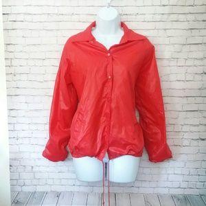 VINTAGE bright red rain jacket